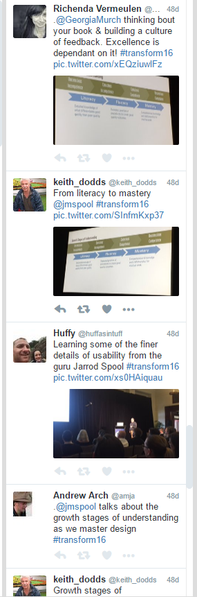 Jared Spool tweets, Transform 16