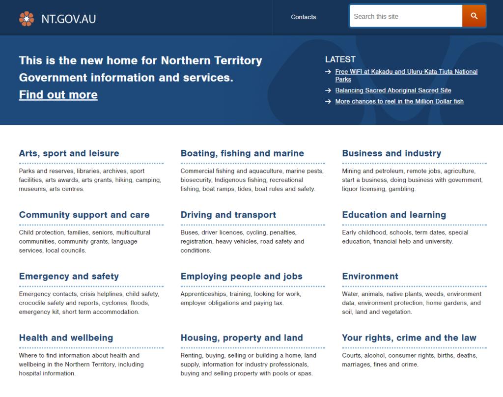 Transform 16: NT govt website