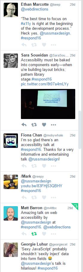 Respond 16: Russ Weakley tweets