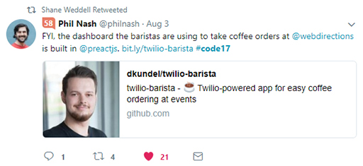 Code 17 in 100 Tweets: coffee ordering system is built in Preact
