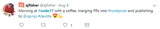 Code 17 in 100 Tweets: coffee merging and publishing