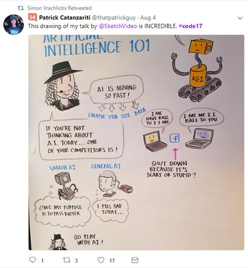 Code 17 in 100 Tweets: Patrick likes sketchnote