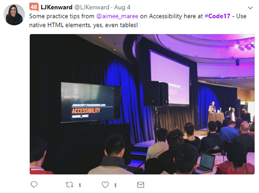 Code 17 in 100 Tweets: Aimree Maree accessibility