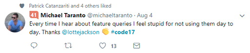 Code 17 in 100 Tweets: feature queries