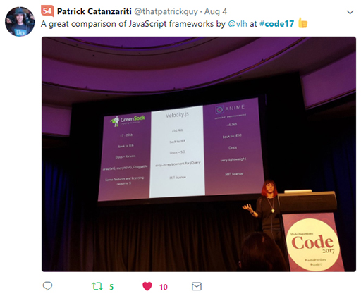 Code 17 in 100 Tweets: Val Head comparing JS frameworks