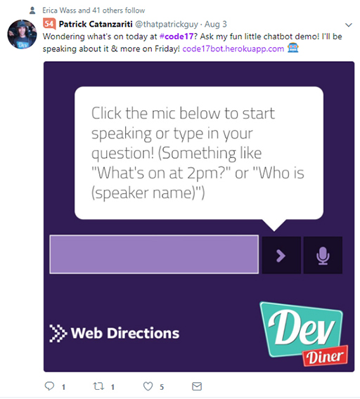 Code 17 in 100 Tweets: Dev Diner chatbot
