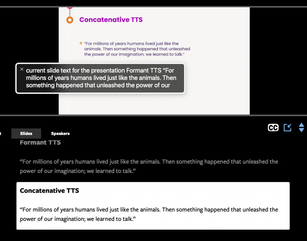 Our live region slides in action. Screenshot of part of a browser window. It's divided into two main parts horizontally. At the top is the video being displayed. It is showing a slide. Floating over that is the Mac OS Voice Over window displaying the current text it is speaking, which matches the slide being displayed.  The bottom half of the window shows the slide text being displayed, which also matches the slide on the video being displayed.